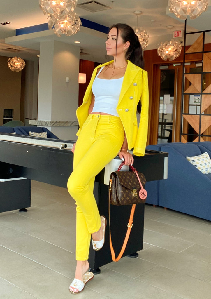 Yellow Double-Breasted Denim Blazer & Pants Set