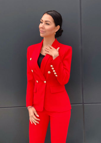 Red Double Breasted Blazer & Pants Suit Set
