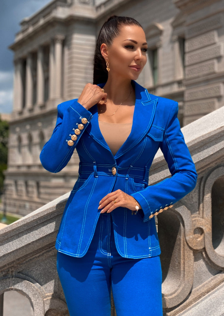 Blue Double-Breasted Denim Blazer & Pants Set