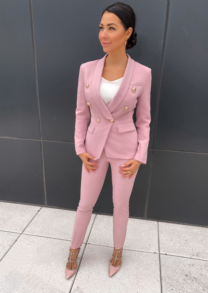 Double Breasted Blazer & Pants Suit Set
