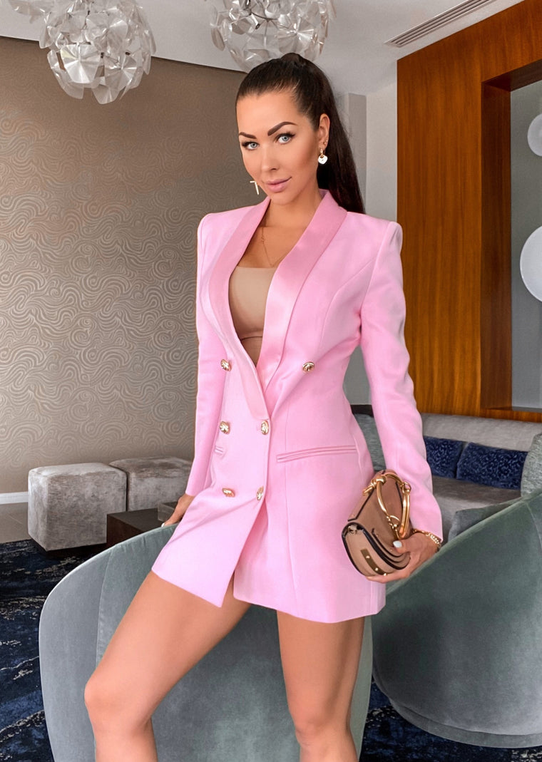 SATIN COLLAR PINK BLAZER DRESS