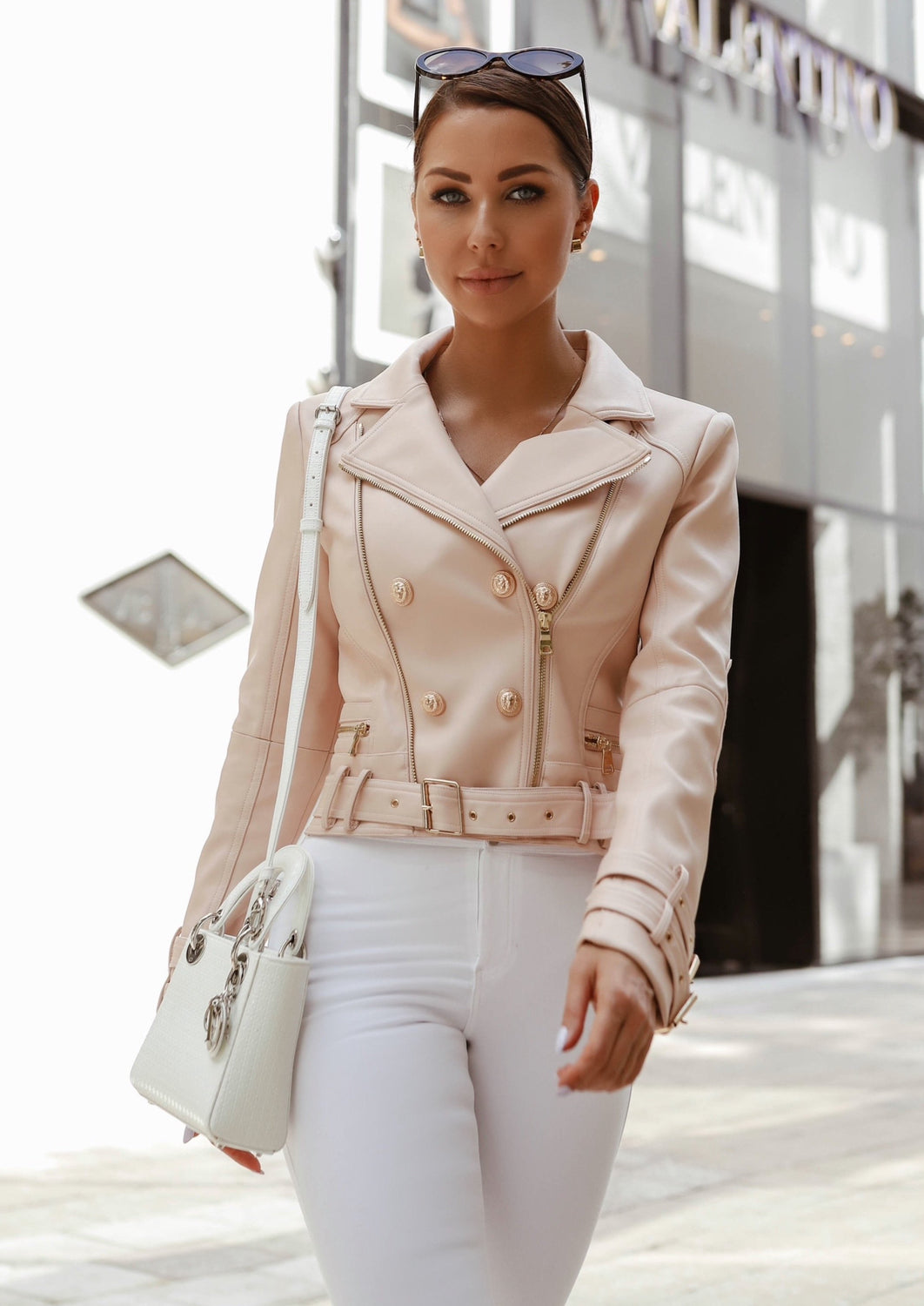 Vegan Leather Moto Biker Jacket - Beige