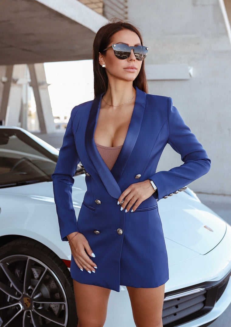 SATIN COLLAR ROYAL BLUE BLAZER DRESS WITH SILVER TONE BUTTONS