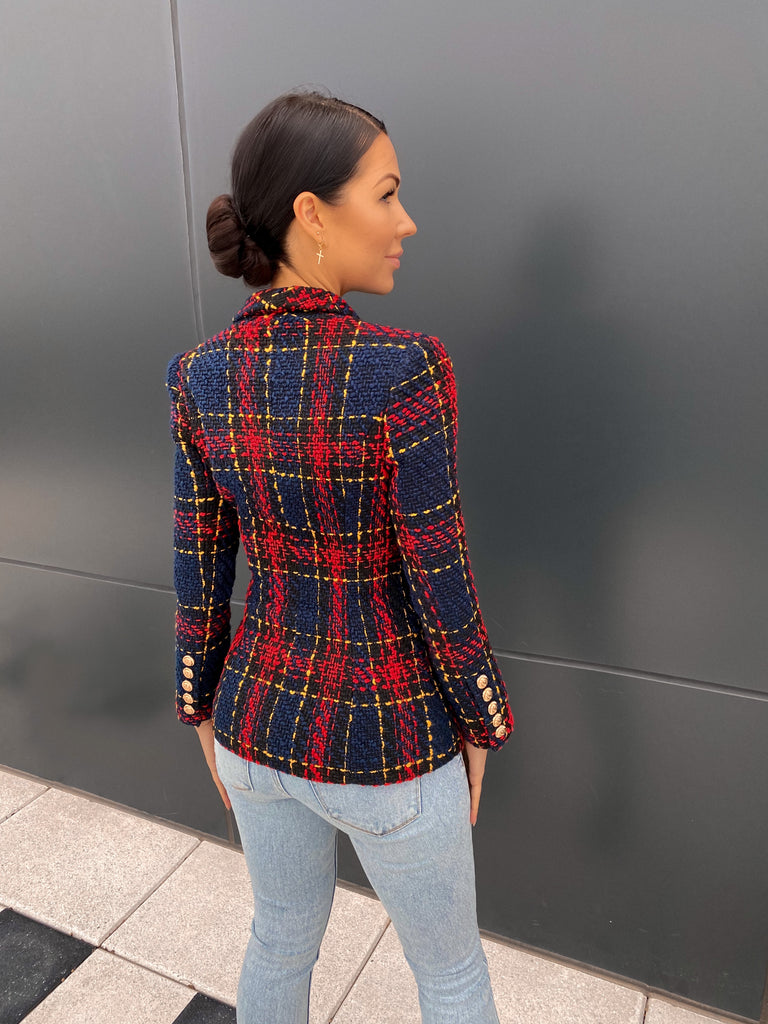 Double Breasted Checked Tweed Blazer with Gold Buttons