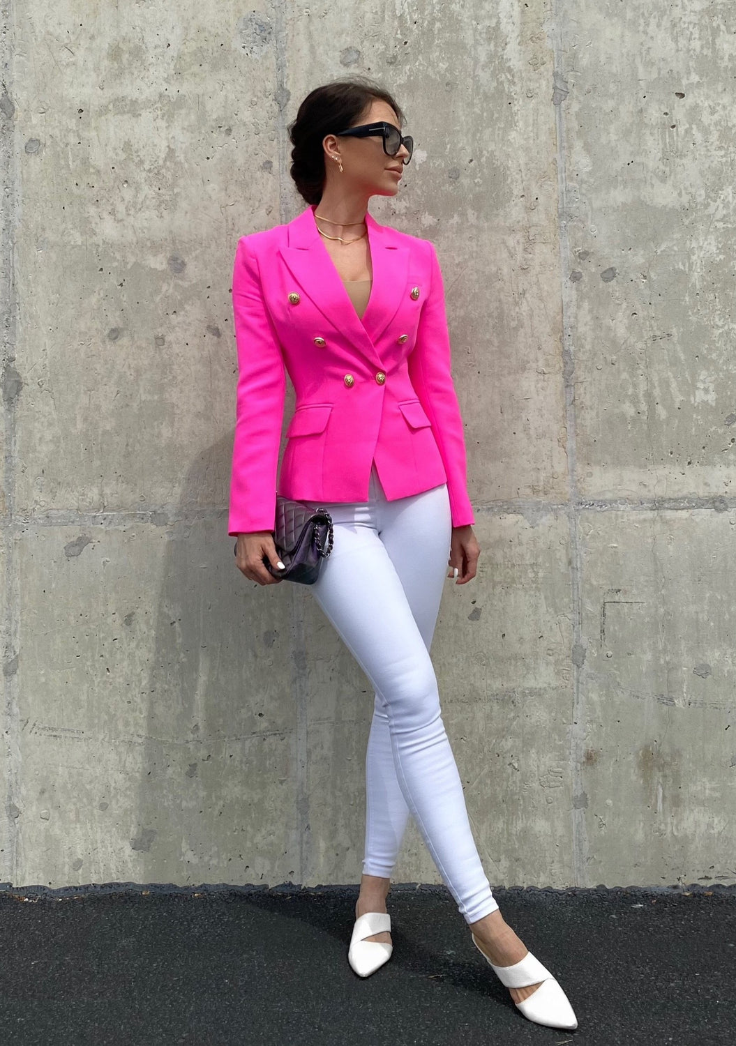 Pink Double-breasted Blazer Gold Tone Buttons