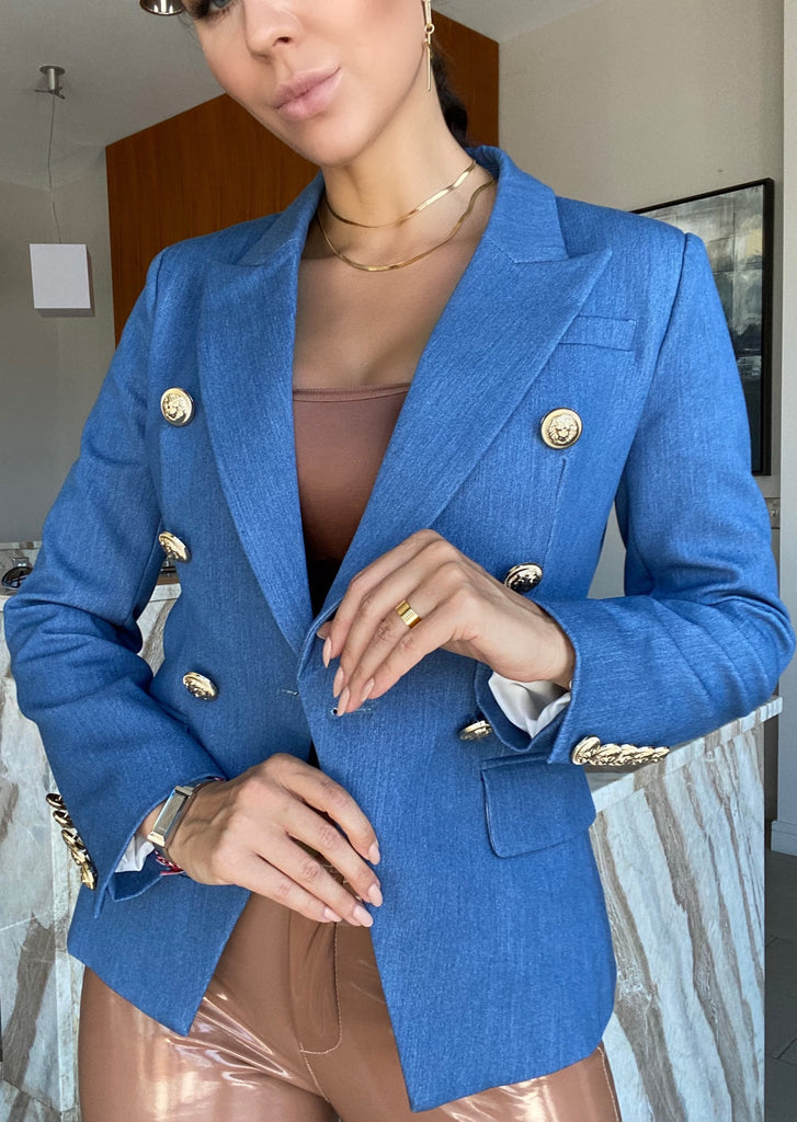 Blue Denim Double-Breasted Blazer