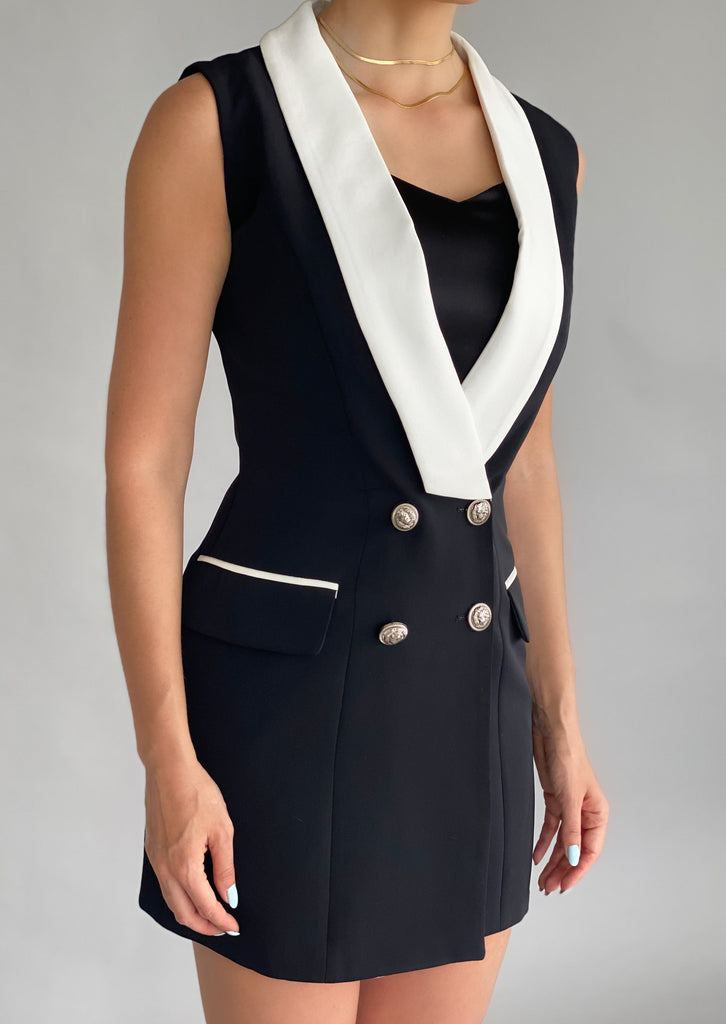 Black & white double-breasted satin-trimmed blazer mini dress