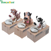 Cute Dog Mechanical Piggy Bank Automatic Robotic Coin Munching Toy Money Box Coin Bank for Kids -Watch Him Eat Your Coins
