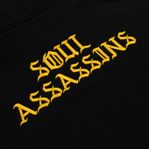 SOUL ASSASSINS OLD ENGLISH MASKED HOODIE (BLACK)