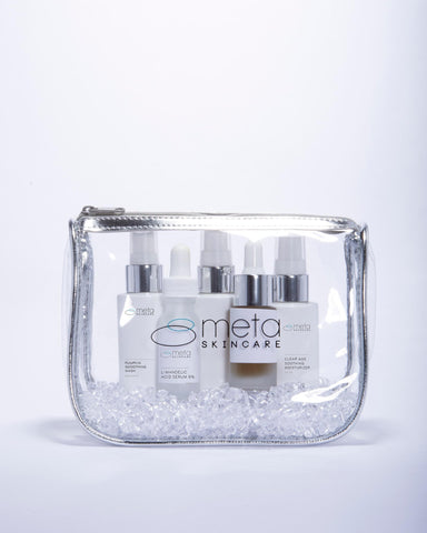 Meta Skincare's Travel Sized Pouch for Clear Age Set for Acneic and Aging Skin