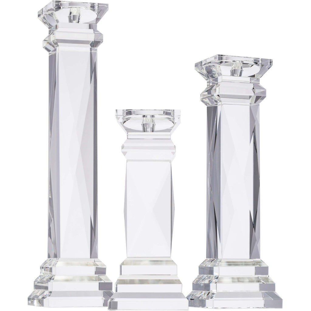 Classic X Faceted Tower Candleholder Set
