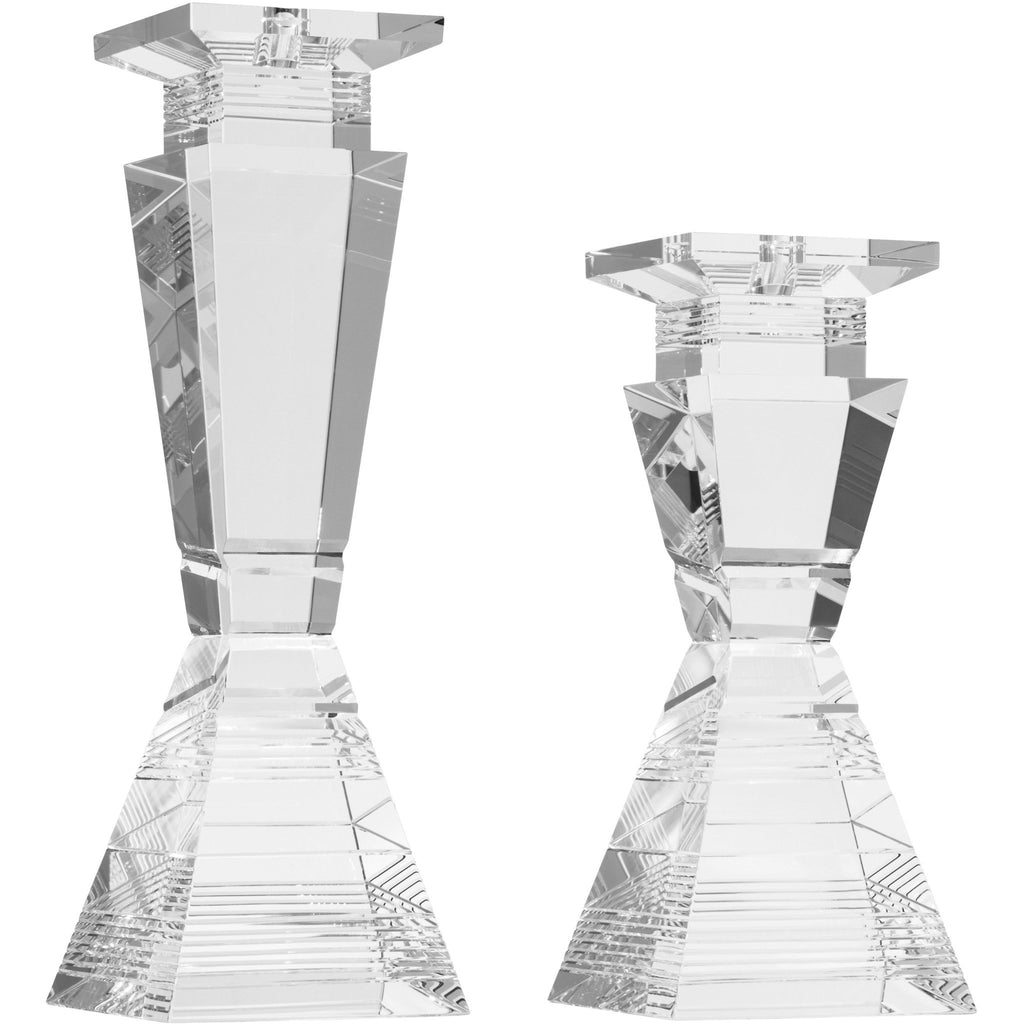 Diamond Etched Concave Tower Candleholder Set