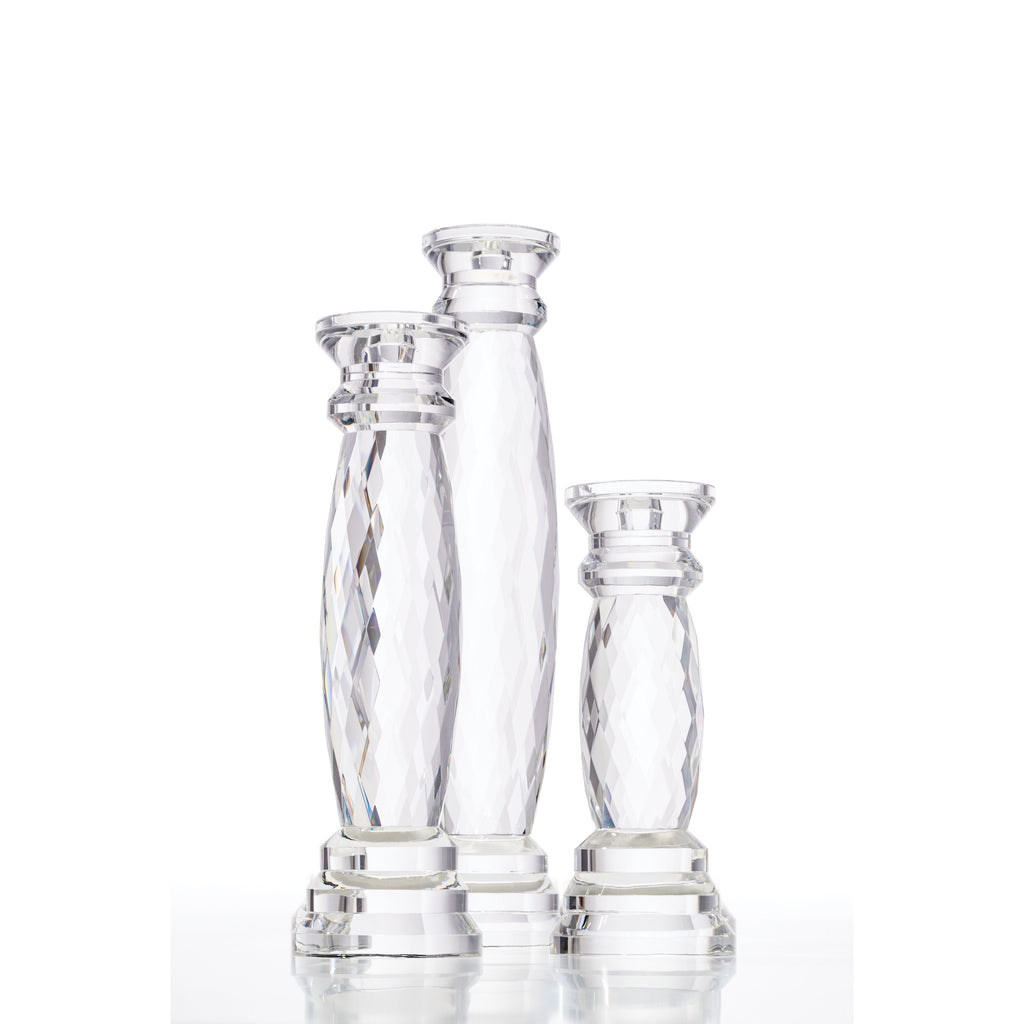 Round Diamond Faceted Candleholder Set