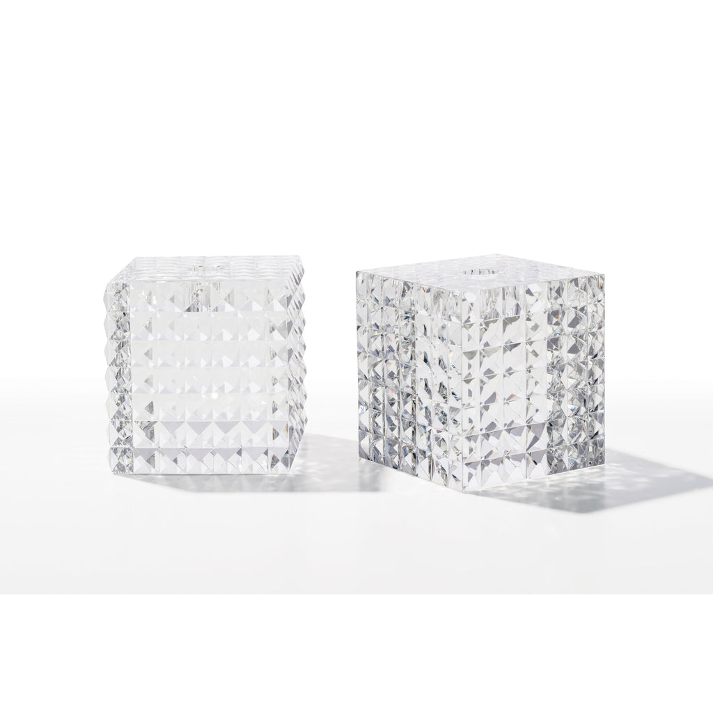 Square Pyramid Cut Candleholders (Pair)
