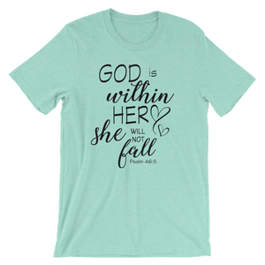 God is within her short sleeved tshirt