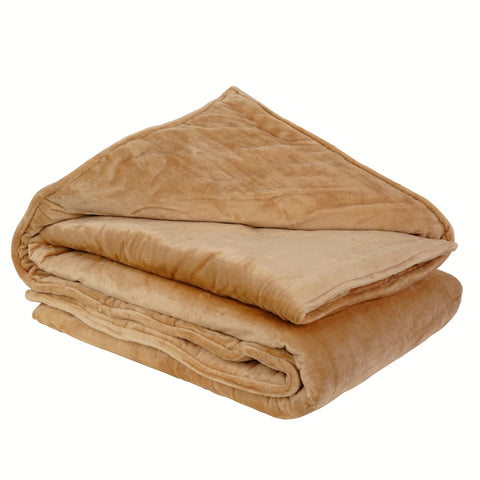 Weighted Blanket Throw w/ Glass Beads for Kids & Adults | Soft Minky - 5lbs, 3ft x 4ft - Khaki