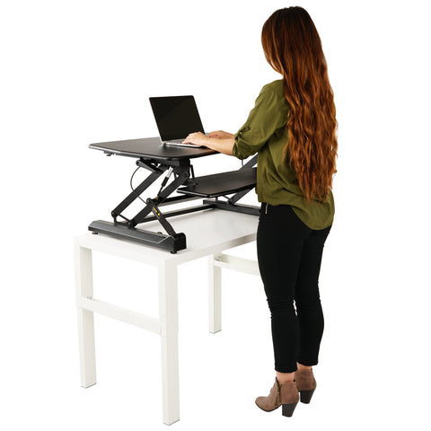 ZooVaa Standing Desk Riser, Micro Adjustable Height Sit to Stand Riser Standing Desk Workstation - 10-OFD-001B