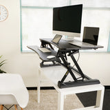 ZooVaa Standing Desk Riser, Micro Adjustable Height Sit to Stand Riser Standing Desk Workstation