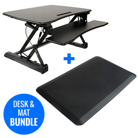 Adjustable Height Standing Desk Riser w/Anti Fatigue Standing Mat Bundle