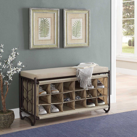Organize It All Shoe Rack w/Bench - Oil Rubbed Bronze