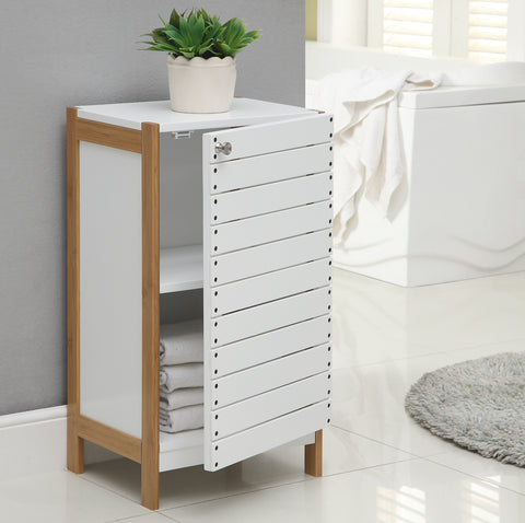 Organize It All Floor Cabinet - White/Bamboo