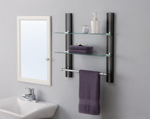 Organize It All 2 Tier Glass Shelf w/Towel Bar