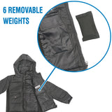 CHILDREN'S WEIGHTED COMPRESSION PUFFER HOODED JACKET - MEDIUM