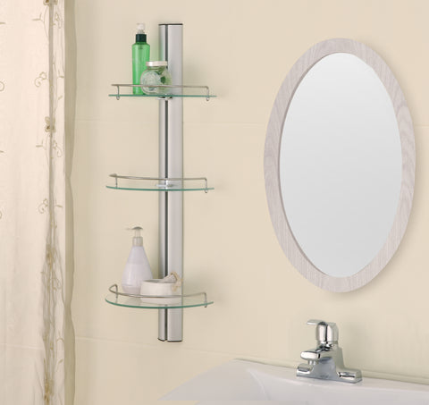 Organize It All 3 Tier Half Moon Glass Shelf - Chrome/Brushed Metal