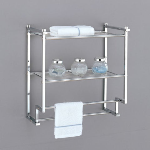 Organize It All 2 Tier Wall Mounting Rack w/Towel Bar - Chrome