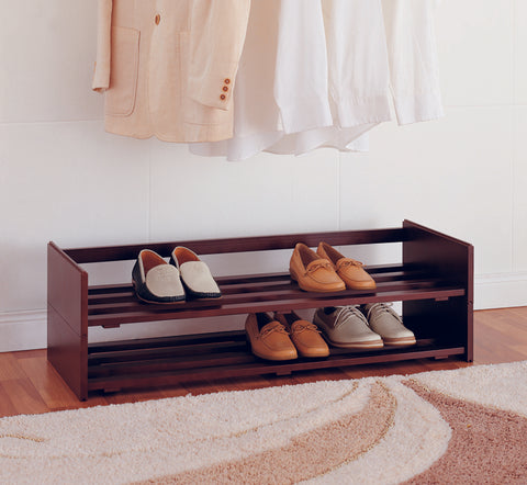 Organize It All 2 Tier Mahogany Stackable Shoe Rack - Espresso