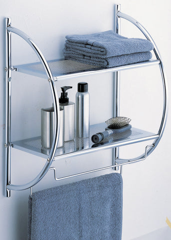 Organize It All 2 Tier Shelf w/Towel Bar - Chrome