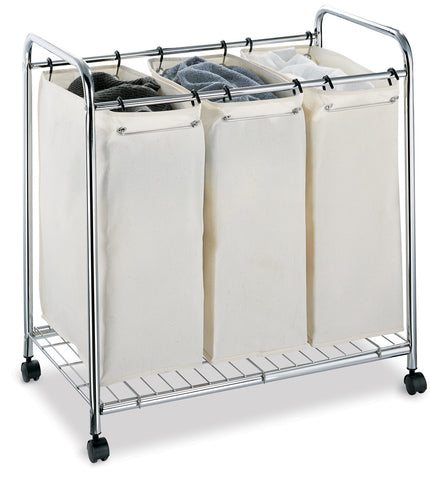Organize It All 3 Section Laundry Sorter - Chrome/Neutral Cream