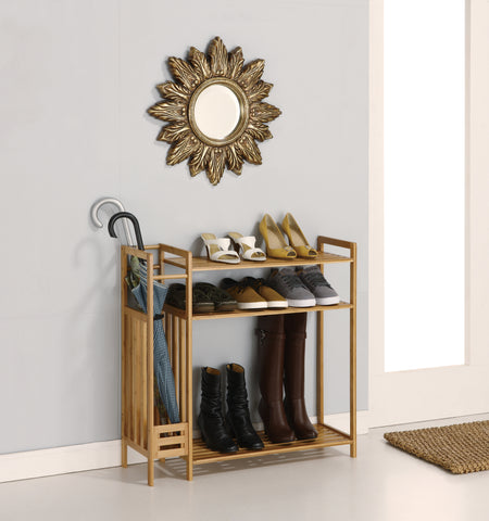 Organize It All Shoe Rack With Umbrella Stand - Bamboo