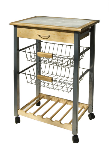 Organize It All Kitchen Cart w/2 Baskets - Natural Pine