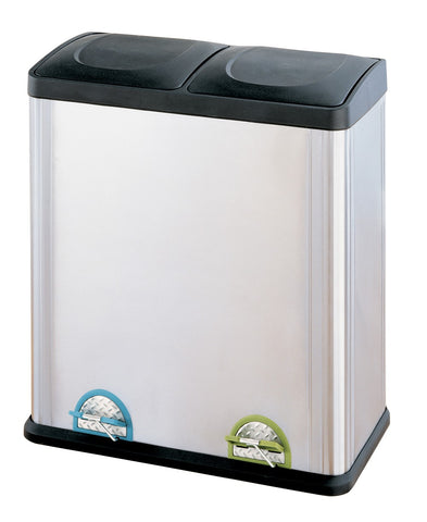 Organize It All 2 Compartment 60 Liter Step Bin - Stainless Steel/Black