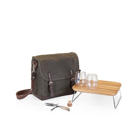 Adventure Wine Tote, (Khaki Green with Brown)