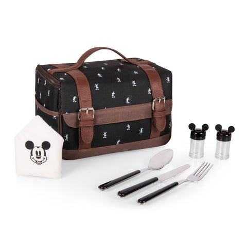 Mickey Mouse Lunch Tote, (Black & White Mickey Print w/Brown Leatherette)