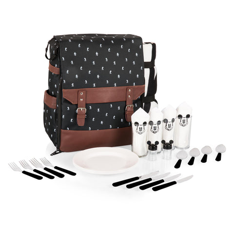 Mickey Mouse Picnic Backpack, (Black & White Mickey Print w/Brown Leatherette)