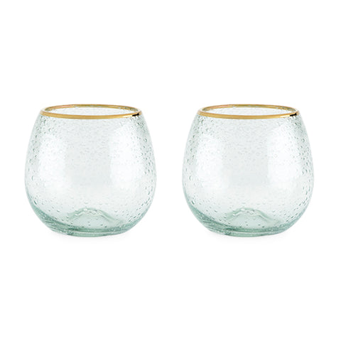Seaside: Gold Rim Bubble Wine Glass Set