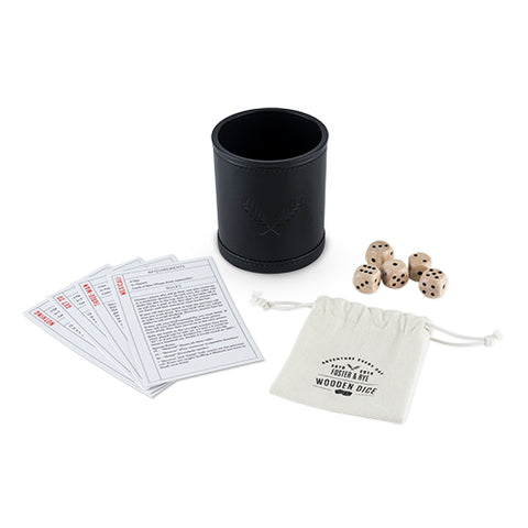 Wood Dice & Faux Leather Dice Cup Drinking Game Set
