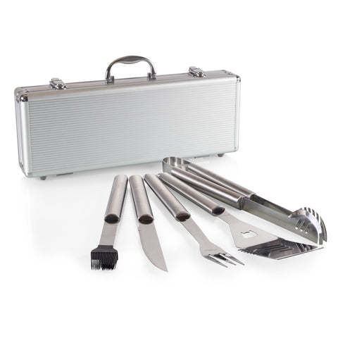 Fiero 5-Pc BBQ Tool Set, (Silver Casing with Black Line and BBQ Tool Accents)