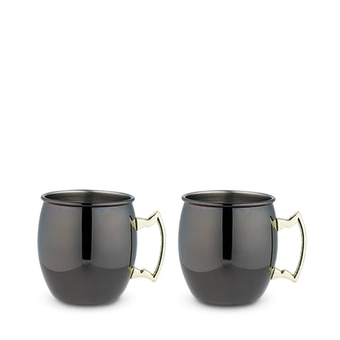 Black Moscow Mule Mug with Gold Handle, 2 Pack, by True