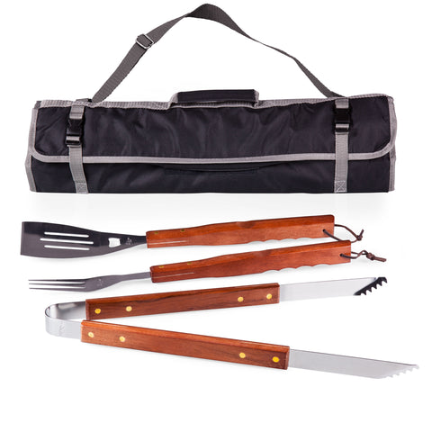 3-Pc BBQ Tote & Tools Set, (Black & Grey with Wooden Tool Handles)