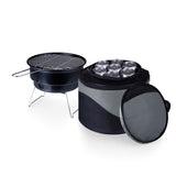 Caliente Portable Charcoal BBQ & Cooler Tote, (Black with Grey)