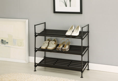 Organize It All 3 Tier Shoe Rack - Resin Black