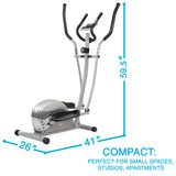 EFITMENT Compact Magnetic Elliptical Machine Trainer with LCD Monitor and Pulse Rate Grips - E005