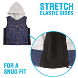 ZooVaa Weighted Kids Vest - Childrens Denim Compression Hoodie Vest w/ Removable Weights - Small