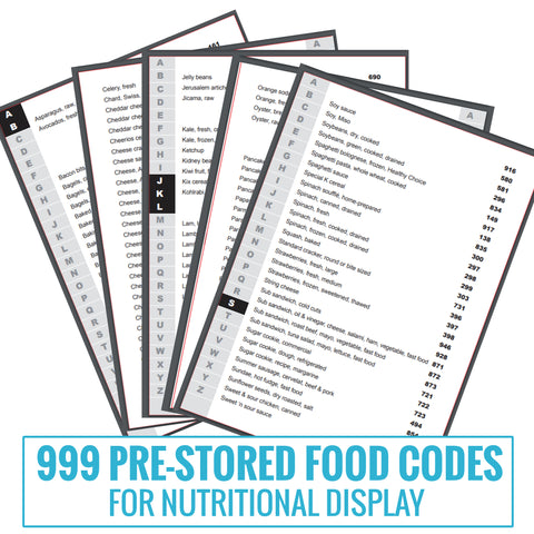 999 pre-stored food types