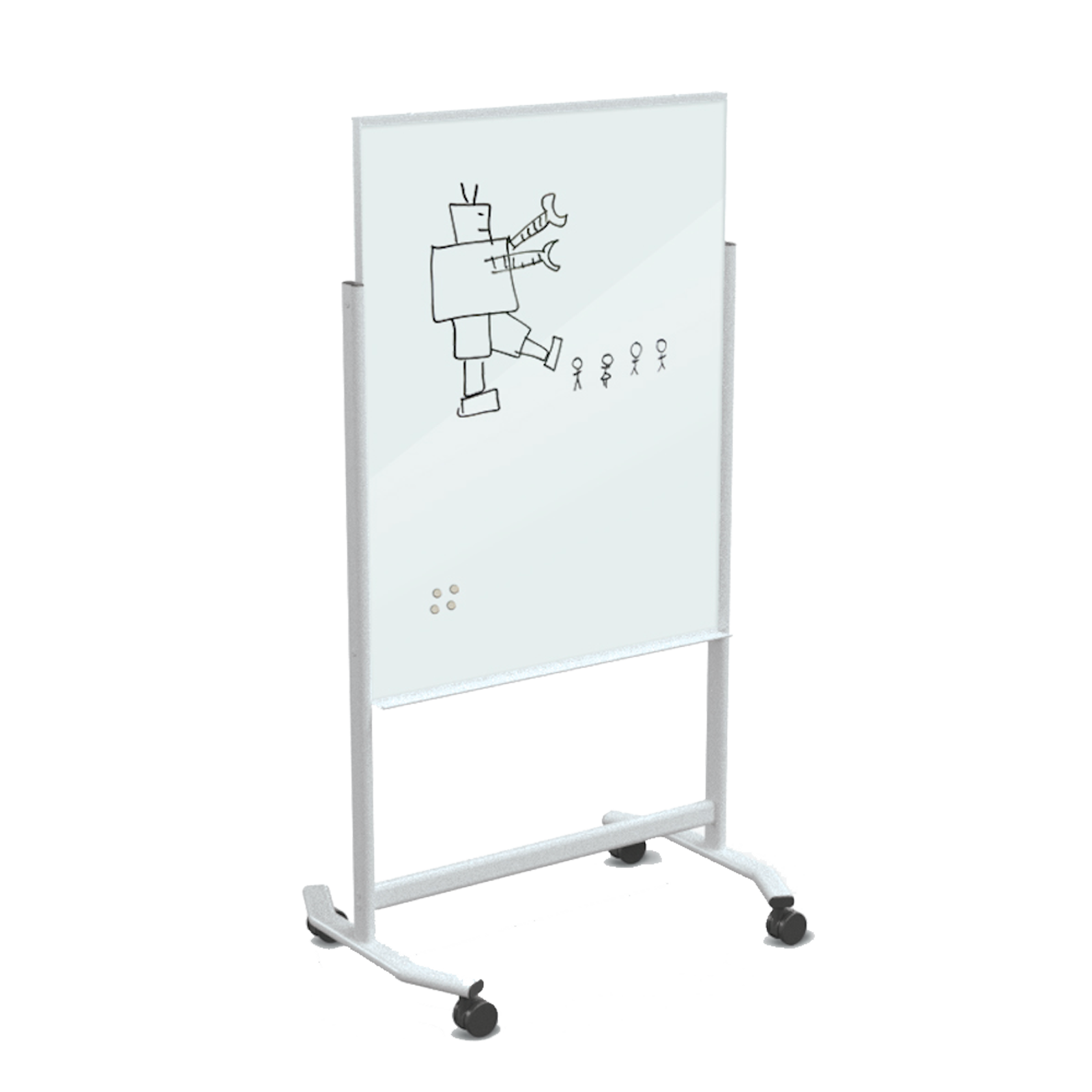 Magnetic Mobile Glass Dry Erase Whiteboard