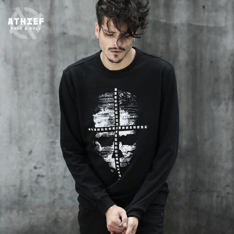 Dark Style Printed Skull pattern Latin Cross Rivet Sweatershirt for men